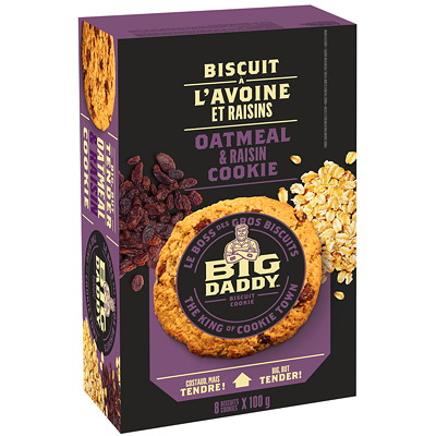 Big Daddy Cookies, Oatmeal and Raisin, 100 G, 8/BX