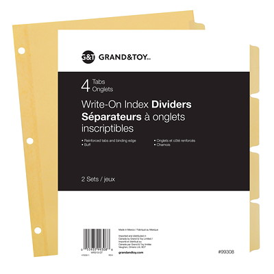 """Grand & Toy Write-On Index Dividers, Buff, 8 1/2"""" x 11"""", 4-Tabs/ST, 2 Sets/PK STOCK MYLAR  2STS OF 4TABS REINFORCED TABS/HOLES  10% PCW"""