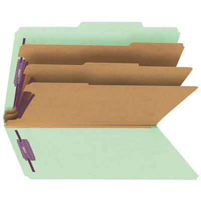 """Chemises de classement à trois intercalaires en carton comprimé avec attaches SafeSHIELD Smead, gris et vert, extension de 3po, format légal, boîte de 10 SAFESHIELD FASTENERS 3 DIVIDERS/3"""" EXPANSION"""