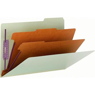 """Chemises de classement à trois intercalaires en carton comprimé avec attaches SafeSHIELD Smead, gris et vert, extension de 3po, format lettre, boîte de 10 SAFESHIELD  FASTENERS 3 DIVIDERS/3"""" EXPANSION"""