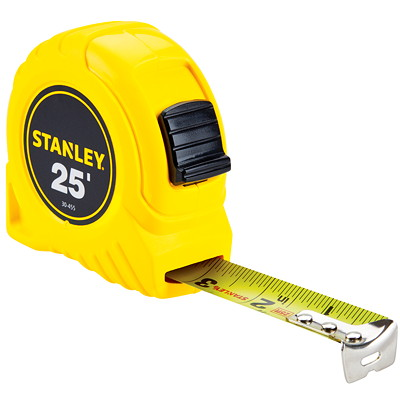 Stanley 25' Tape Measure  HIGH-IMPACT ABS CASE POLYMER COATED BLADE