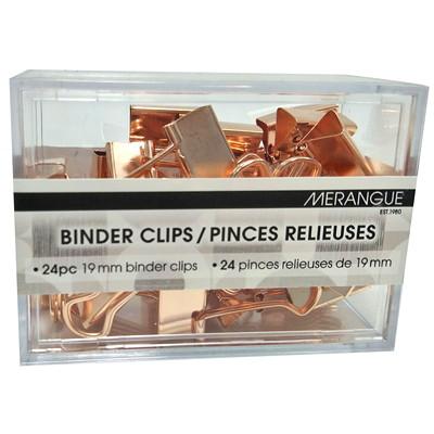 "Merangue Binder Clips, Rose Gold, 3/4"", 24/PK 24 PACK BINDER CLIPS 19 MM"