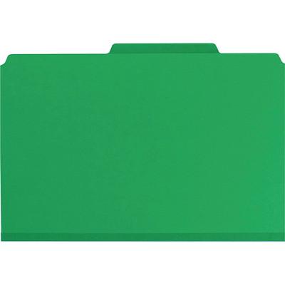 """Chemises de classement à deux intercalaires en carton comprimé avec attaches SafeSHIELD Smead, vert, extension de 2po,  format légal, boîte de 10 SAFESHIELD FASTENERS  GREEN 2 DIVIDERS/2"""" EXPANSION"""