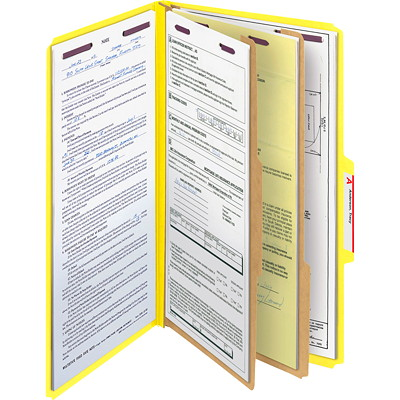 """Chemises de classement à deux intercalaires en carton comprimé avec attaches SafeSHIELD Smead, jaune, extension de 2po, format légal, boîte de 10 SAFESHIELD FASTENERS YELLOW 2 DIVIDERS/2"""" EXPANSION"""