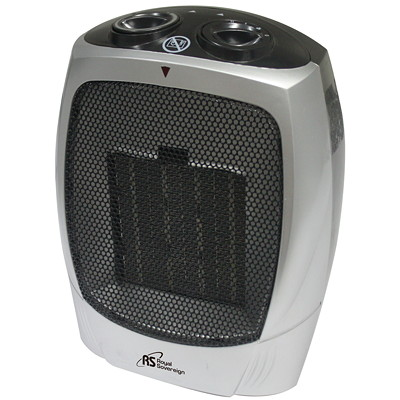 Royal Sovereign Compact Ceramic Heater, 2 Heat Settings, Silver/Grey 2 HEAT SETTINGS MANUAL THERMOSTAT