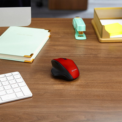 Verbatim Silent Ergonomic Wireless Blue LED Mouse - mouse - 2.4 GHz - red RED