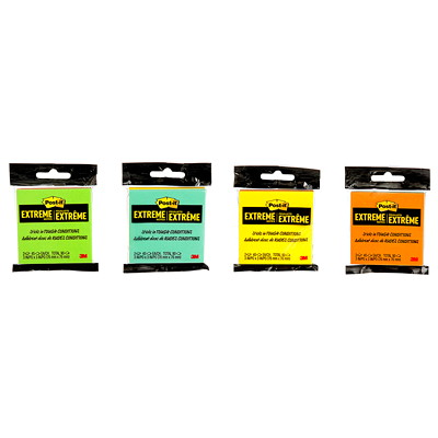 """Post-it Extreme Notes, Assorted Colours, 3"""" x 3"""", 45 Sheets/Pad, 2/Pk 2-PACK MIXED BAG"""