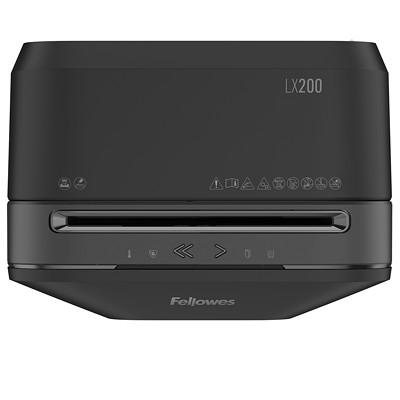 "Fellowes Powershred LX200 Shredder, Black, Micro-Cut, 12-Sheet Capacity, P-4 Level(5015001) P4. 9"" THROAT. 5.8 GAL 10MIN ON/15MIN OFF.1080' T/PUT"