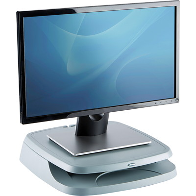 Fellowes Monitor Riser - stand TRAY FOR PAPER OR SUPPLIES HOLDS UP TO 80LBS LIGHT GREY