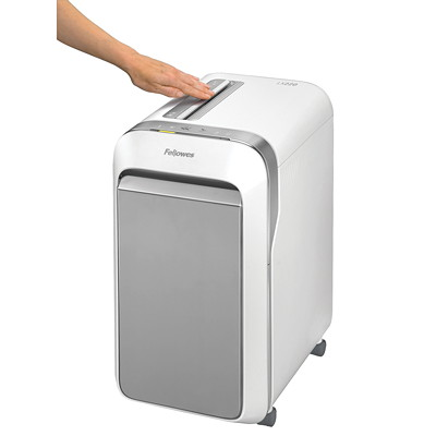 "Fellowes Powershred LX220 Shredder, White, Micro-Cut, 20-Sheet Capacity, P-4 Level(5015501) P4. 9"" THROAT. 8 GAL 30MIN ON/15MIN OFF.4200' T/PUT"