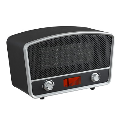 Modern Homes Radio-Style Space Heater, Black/Silver 2 HEAT SETTINGS 1000/1500W OVER HEATING PROTECTION
