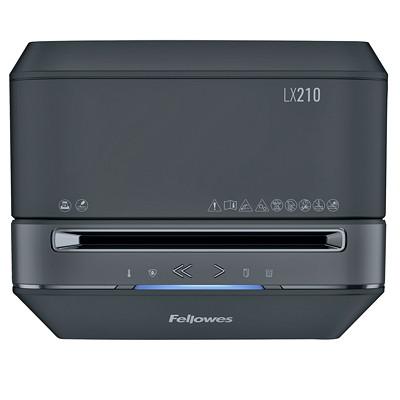 "Fellowes Powershred LX210 Shredder, Black, Micro-Cut, 16-Sheet Capacity, P-4 Level(5015201)  P4. 9"" THROAT. 6 GAL 20MIN ON/15MIN OFF.2240' T/PUT"