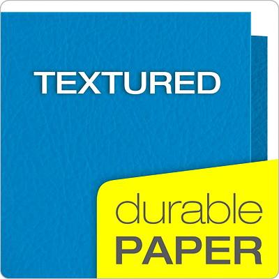 Oxford Embossed Twin Pocket Folder, Light Blue, Letter Size LETTER