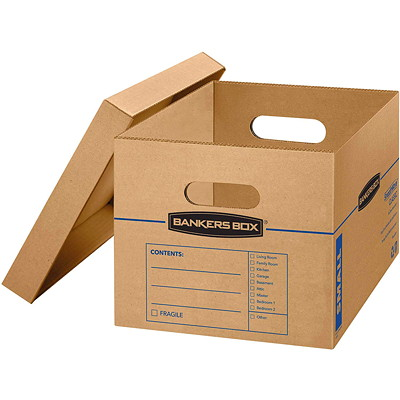 "Bankers Box SmoothMove Classic Storage Boxes, Small, 12 1/2""W x 16 1/4""D x 10 1/2""H , 10/CT NO TAPE REQUIRED FOR ASSEMBLY DURABLE DOUBLE CONSTRUCTION"