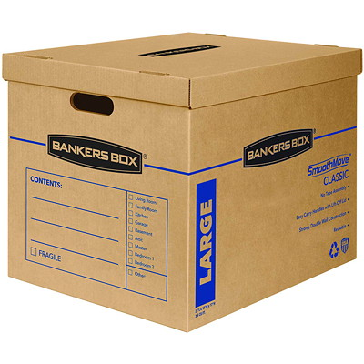 "Bankers Box SmoothMove Classic Storage Boxes, Large, 17""W x 21""D x 17""H , 5/CT NO TAPE REQUIRED FOR ASSEMBLY DURABLE DOUBLE CONSTRUCTION"