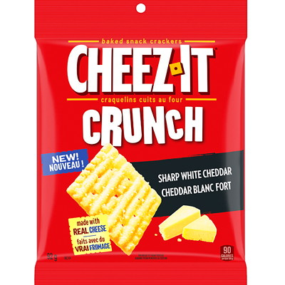 Cheez-It Crunch Baked Snack Crackers, Sharp White Cheddar, 92 g, 6/BX  6 X 92G