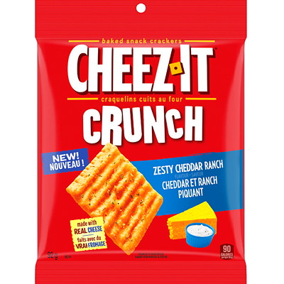 Cheez-It Crunch Baked Snack Crackers, Zesty Cheddar Ranch, 92 g, 6/BX  6 X 92G