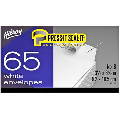 Hilroy Press-It Seal-It Envelopes, Open Side, #8, White, 65/BX  WHITE - 65/BOX SELF-ADHESIVE ENVELOPES