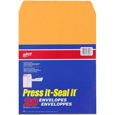 "Hilroy Press-It Seal-It Adhesive Envelopes, Kraft, 10"" x 13"", 20/PK KRAFT - 10"" X 13"" - 20/PK SELF-ADHESIVE ENVELOPES"