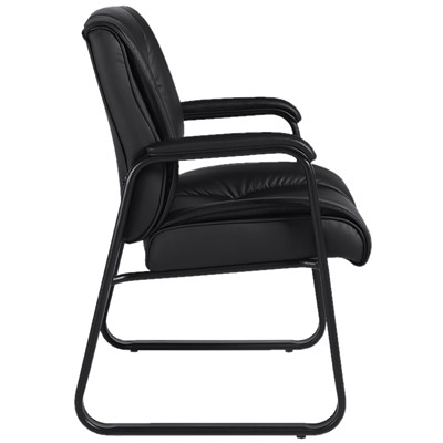 Offices To Go Ashmont Mid-Back Guest Chair, Black, Luxhide Bonded Leather LUXHIDE BONDED LEATHER  BLACK FULLY ASSEMBLED