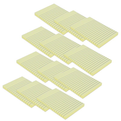 "Grand & Toy Self-Stick Notes, Yellow, Lined, 4"" x 6"", 100 Sheets/Pad, 12/PK  REPLACED 99142"