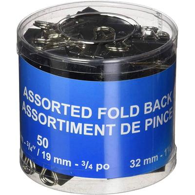 "Westcott Fold-Back Binder Clips, Black, Assorted Sizes, 60/PK ASSORT SIZES: 50X 3/4"" (19MM) AND 10X 1-1/4"" (32MM)"