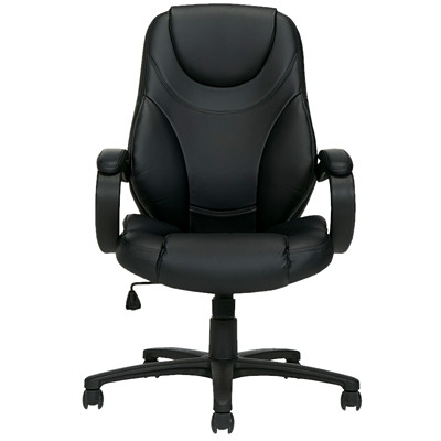 Offices To Go Brighton High Back Tilter Chair, Black Luxhide Bonded Leather Seat and Back LUXHIDE BONDED LEATHER  BLACK FULLY ASSEMBLED