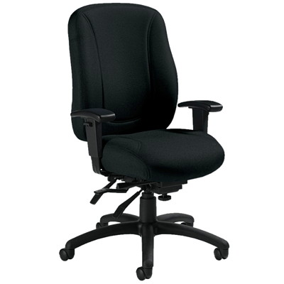Global Overtime High-Back Multi-Tilter Ergonomic Chair, Ebony Black, Jenny Fabric JENNY FABRIC  EBONY FULLY ASSEMBLED