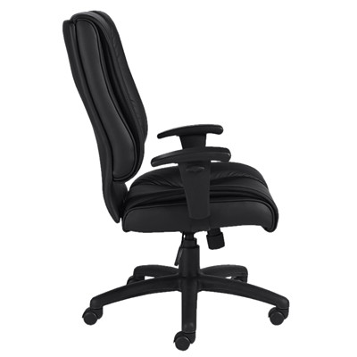 Offices To Go Ashmont High-Back Tilter Executive Chair, Black, Luxhide Bonded Leather LUXHIDE BONDED LEATHER  BLACK FULLY ASSEMBLED