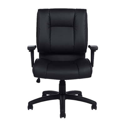 Offices To Go Ashmont Mid-Back Tilter Executive Chair, Black, Luxhide Bonded Leather MEDIUM BACK TILTER LUXHIDE BONDED LEATHER  BLACK