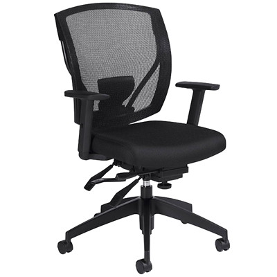 Offices To Go Ibex Mid-Back Multi-Tilter Ergonomic Chair, Ebony Black Jenny Fabric Seat/Mesh Back  JENNY FABRIC/MESH BACK MEDIUM BACK