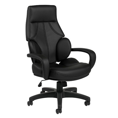 Offices To Go Kazan High-Back Tilter Executive Chair, Black, Luxhide Bonded Leather HIGH BACK TILTER LUXHIDE BONDED LEATHER  BLACK