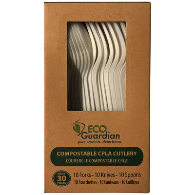 Eco Guardian Compostable Utensils, Forks/Knives/Spoons, Natural White, 30/PK 30/PK NAT WHT COMPOSTABLE