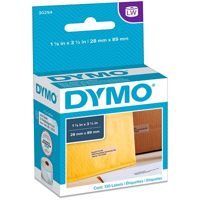 """DYMO LabelWriter Address Thermal Labels, Clear, 1 1/8"""" x 3 1/2"""", 130 Labels/BX   130 LABELS DYMO COSTAR"""