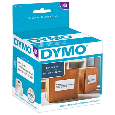 """DYMO LabelWriter Shipping Thermal Labels, White, 2 1/8"""" x 4"""", 220 Labels/BX   LABELWRITER 2 1/8 X 4 220 LABELS ON 1 ROLL(EACH)"""