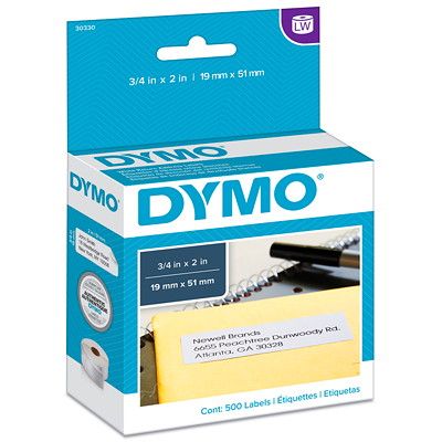 """DYMO LabelWriter Return Address Thermal Labels, White, 3/4"""" x 2"""", 500 Labels/BX 500 LABELS PER ROLL"""
