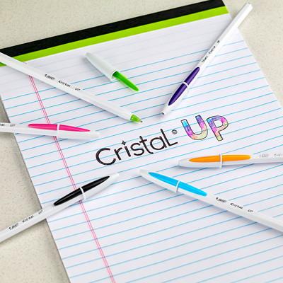 Stylos à bille Cristal Up Stic Bic, pointe moyenne de 1 mm, emb. de 6 BALL PEN STICK ASSORTED MEDIUM POINT 6-PACK