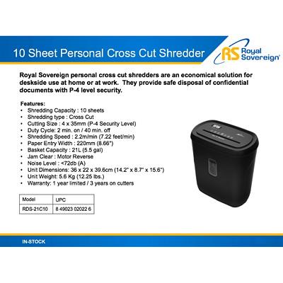 Royal Sovereign Personal Shredder, Cross-Cut, 10-Sheet Capacity, P-4 Security Level (RDS-21C10) 10 SHEET CROSS CUT BLACK