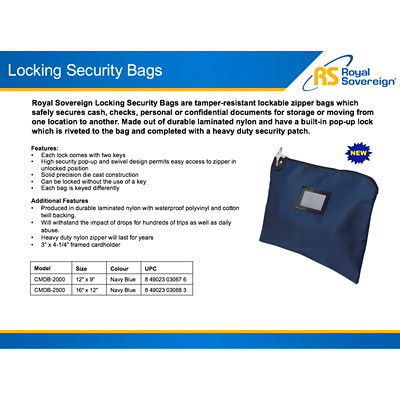 "Royal Sovereign Locking Security Bag, Navy Blue, 16"" x 12"" 16 IN. X 12 IN. NAVY BLUE"