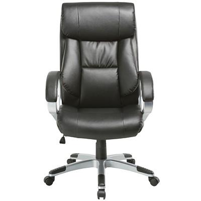 TygerClaw High-Back Executive Chair, Black BLACK UPHOLSTERY: BLACK PVC