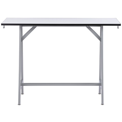 Safco Spark Standing Height Teaming Table, White Top/Silver Base WHITE/SILVER