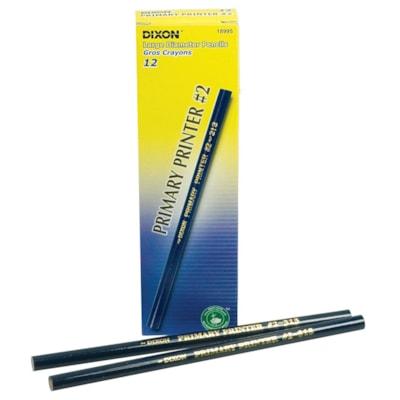 "Dixon Primary Printer #2 Thick Black Lead Pencils, Blue Barrel, Intermediate Size 11/32"" Diameter, 12/PK LEAD PENCILS 1 DOZ"
