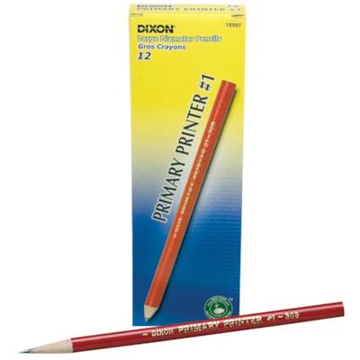"""Dixon Primary Printer #1 Thick Black Lead Pencils, Pre-sharpened, Red Barrel, Primary Size 13/32"""" Diameter, 12/PK LEAD PENCILS 1 DOZ."""