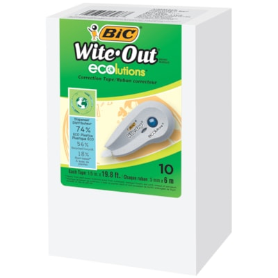 BIC Wite-Out Brand ECOlutions Mini Correction Tape, White, 10/BX 10 BX