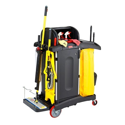 Rubbermaid Commercial High-Security Janitorial Cleaning Cart With Doors And Hood, Black CART  BLACK