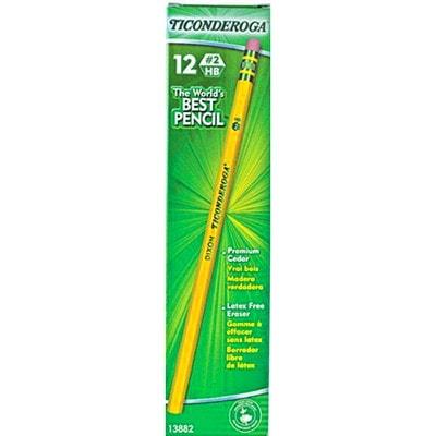 Dixon Ticonderoga Pencils with Erasers, #2 HB, Medium, 12/BX UNSHARPENED