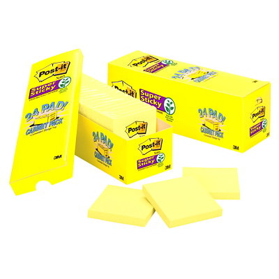 """Post-it Super Sticky Notes Cabinet Packs, Unlined, Canary Yellow, 3"""" x 3"""", Pad of 90 Sheets, Pack of 24 Pads 3X3 CABINET PACK 24 PADS PER PACK YELLOW"""