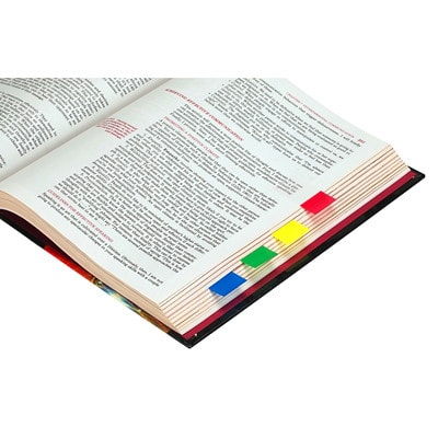 """Post-it Standard Flags with On-The-Go Dispenser, Red/Yellow/Blue/Green, 1"""" x 1 7/10"""", 40 Flags/Colour, 4 Colours/PK 4 COLOURS  (RED YEL BLUE GRN) 40 OF EACH CLR  TOTAL 160 FLGS"""