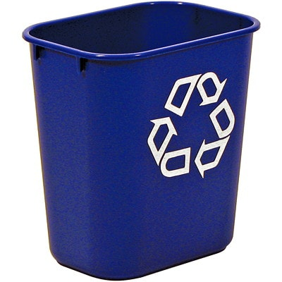 Rubbermaid Commercial 2955 Series Recycling Bin, Blue with White Recycling Logo, 14 4/5 L Capacity RUBBERMAID COMMERCIAL 13QT
