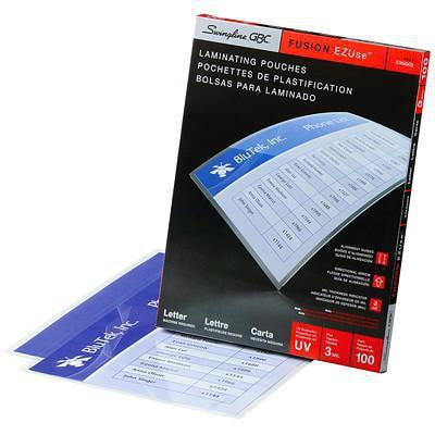 Pochettes transparentes de format lettre pour plastification thermique rapide LongLife EZUse GBC Swingline EZUSE 3 MIL  FLÈCHES DIRECTIONNELLES  EMB. DE 100